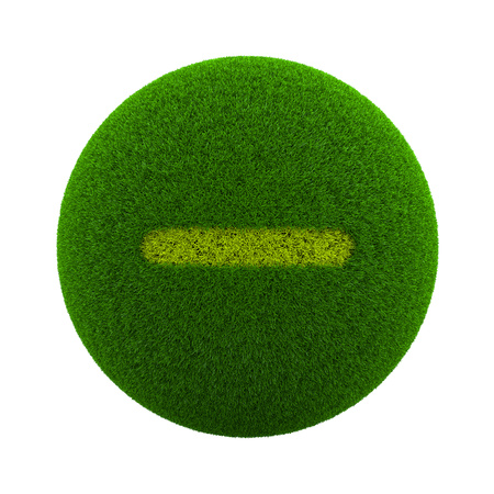 Green Globe with Grass Cutted in the Shape of a Minus Sign 3D Illustration Isolated on White Background