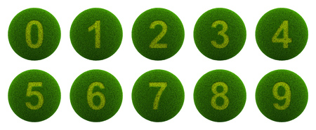series: Series of Green Globe with Grass Cutted in the Shape of a Number Symbol 3D Illustration Isolated on White Background Stock Photo