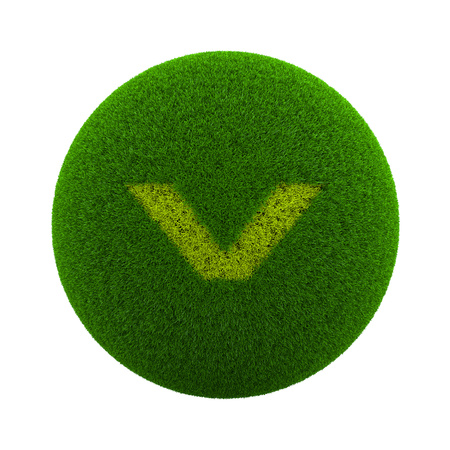 lawn grass: Green Globe with Grass Cutted in the Shape of an Arrow Page Down Symbol 3D Illustration Isolated on White Background