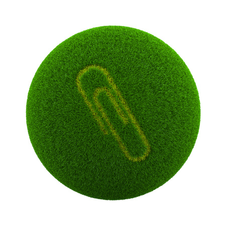 Green Globe with Grass Cutted in the Shape of a Paperclip Symbol 3D Illustration Isolated on White Background
