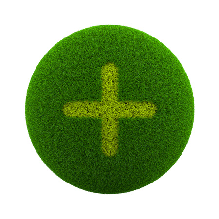 green plus: Green Globe with Grass Cutted in the Shape of a Plus Symbol 3D Illustration Isolated on White Background Stock Photo