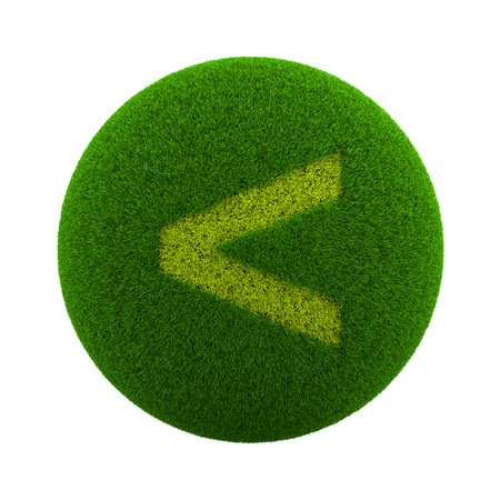 to minor: Green Globe with Grass Cutted in the Shape of a Minor Sign Symbol 3D Illustration Isolated on White Background