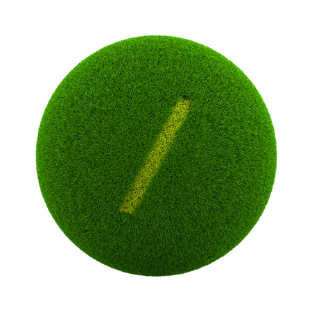 slash: Green Globe with Grass Cutted in the Shape of a Slash Text Symbol 3D Illustration Isolated on White Background