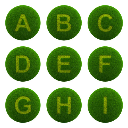 Series of Green Globe with Grass Cutted in the Shape of Alphabetic Letter 3D Illustration Isolated on White Background