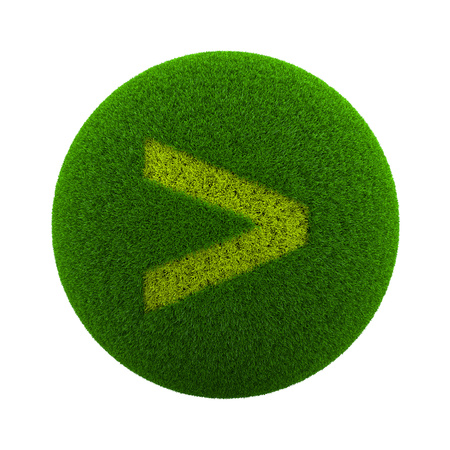 Green Globe with Grass Cutted in the Shape of a Major Symbol 3D Illustration Isolated on White Background Stock Photo