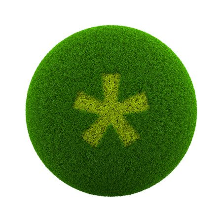 asterisk: Green Globe with Grass Cutted in the Shape of an Asterisk Symbol 3D Illustration Isolated on White Background