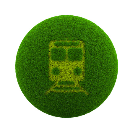 Green Globe with Grass Cutted in the Shape of a Train Symbol 3D Illustration Isolated on White Background