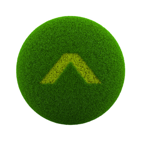 page up: Green Globe with Grass Cutted in the Shape of a Page Up Symbol 3D Illustration Isolated on White Background