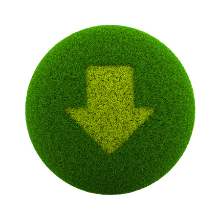 Green Globe with Grass Cutted in the Shape of a Down Arrow Symbol 3D Illustration Isolated on White Background Stock Photo