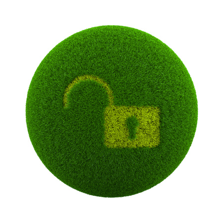 lock symbol: Green Globe with Grass Cutted in the Shape of an Open Lock Symbol 3D Illustration Isolated on White Background