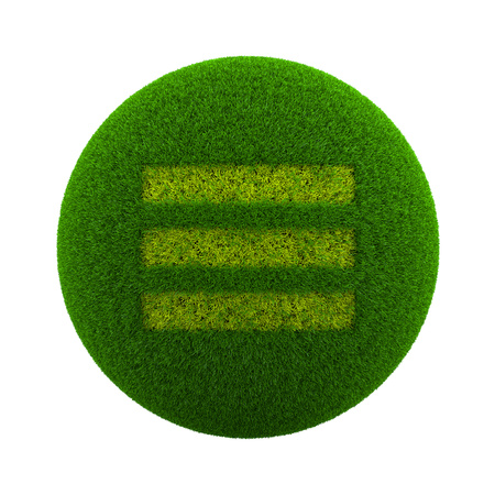 ecological environment: Green Globe with Grass Cutted in the Shape of Three Lines App Menu Symbol 3D Illustration Isolated on White Background