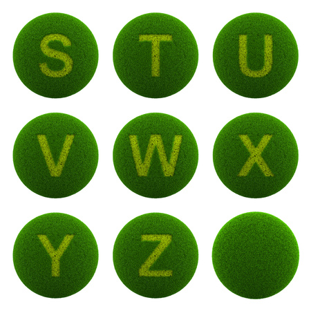 ecological environment: Series of Green Globe with Grass Cutted in the Shape of Alphabetic Letter 3D Illustration Isolated on White Background