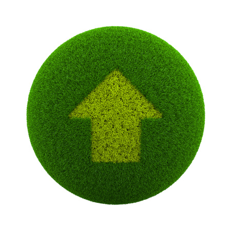 ecological environment: Green Globe with Grass Cutted in the Shape of a Up Arrow Symbol 3D Illustration Isolated on White Background
