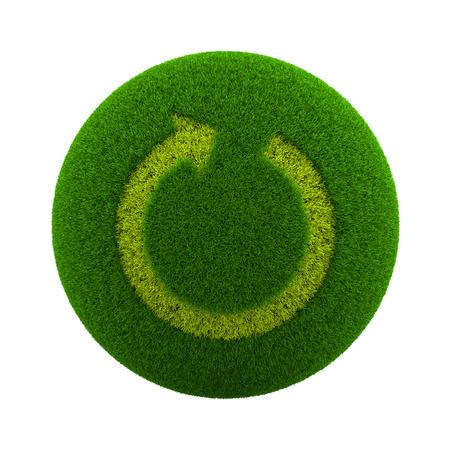 cronologia: Globo verde con hierba Cutted en la forma de un Ilustración Recargar Flecha Símbolo 3D aislada en el fondo blanco Foto de archivo