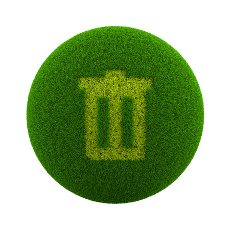 wastepaper basket: Green Globe with Grass Cutted in the Shape of a Trash Can Symbol 3D Illustration Isolated on White Background Stock Photo