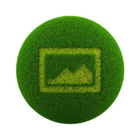 Green Globe with Grass Cutted in the Shape of a Picture Symbol 3D Illustration Isolated on White Background Stock Photo