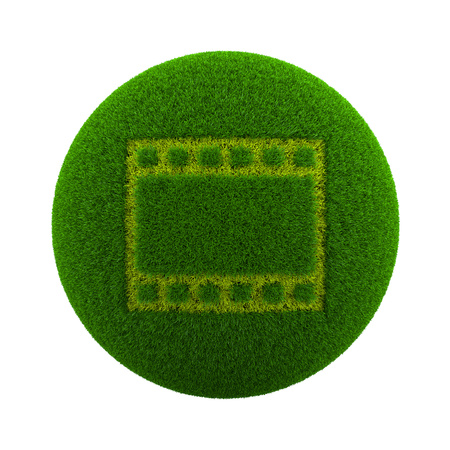 flick: Green Globe with Grass Cutted in the Shape of a Movie Film Symbol 3D Illustration Isolated on White Background Stock Photo