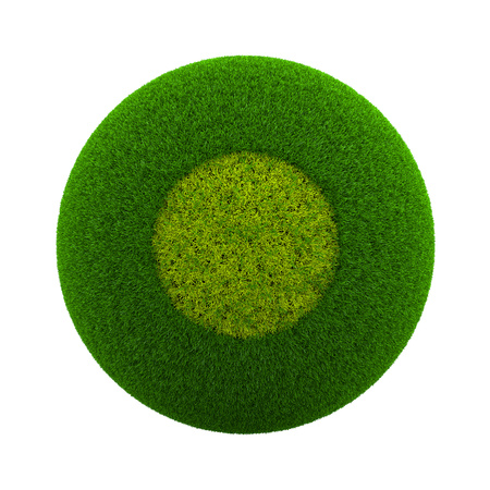 Green Globe with Grass Cutted in the Shape of a Circle Symbol 3D Illustration Isolated on White Background