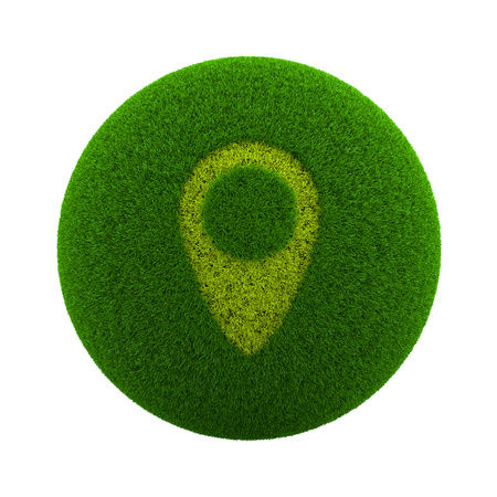 placeholder: Green Globe with Grass Cutted in the Shape of a Map Placeholder Symbol 3D Illustration Isolated on White Background Stock Photo