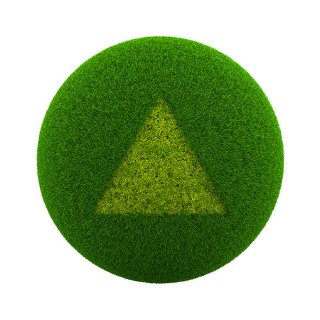 Green Globe with Grass Cutted in the Shape of a Triangle Symbol 3D Illustration Isolated on White Background Stock Photo