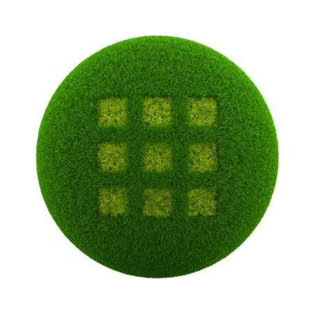 Green Globe with Grass Cutted in the Shape of an App Selection Symbol 3D Illustration Isolated on White Background