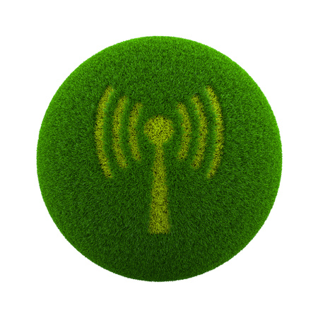hotspot: Green Globe with Grass Cutted in the Shape of a WIFI Hotspot Symbol 3D Illustration Isolated on White Background