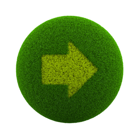 Green Globe with Grass Cutted in the Shape of a Right Arrow Symbol 3D Illustration Isolated on White Background