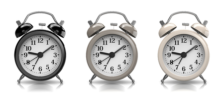 alarmclock: Black and White Vintage Alarm Clock Collection on White Background 3D Illustration Stock Photo