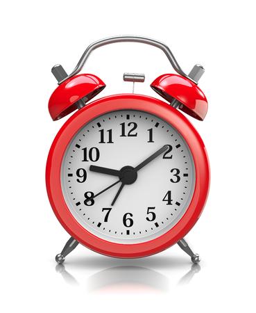 Red Classic Alarm Clock on White Background 3D Illustration Foto de archivo