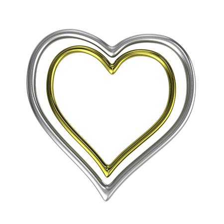 두 동심 심장 모양의 황금과 실버 반지 프레임 흰색 배경의 3D 일러스트 레이 션에 고립
