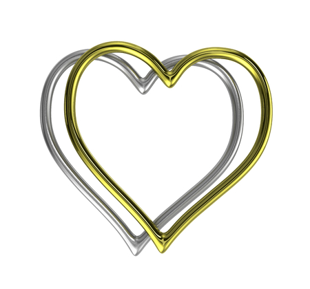 brassy: Two Heart Shaped Golden and Silver Rings Frame Isolated on White Background 3D Illustration