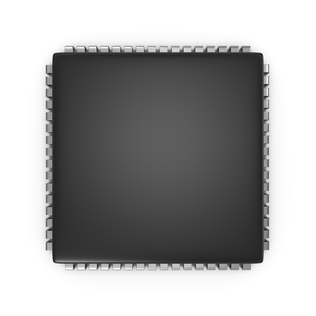 electronic background: Electronic Microchip on White Background 3D Illustration, Top View