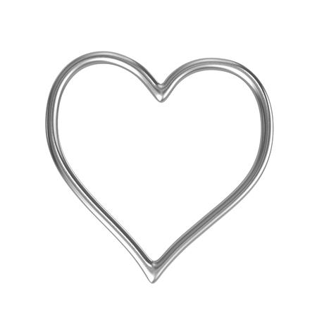 forme: Un seul Coeur Bague en argent Cadre isolé sur fond blanc Illustration 3D Banque d'images