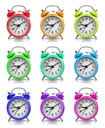 coloful: Coloful Classic Alarm Clock Collection on White Background 3D Illustration Stock Photo
