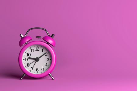 awaken: Purple Alarm Clock on Pink Empty Background 3D Illustration