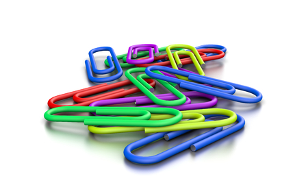 untidy: Heap of Untidy Colorful Paperclips on White Background 3D Illustration Stock Photo