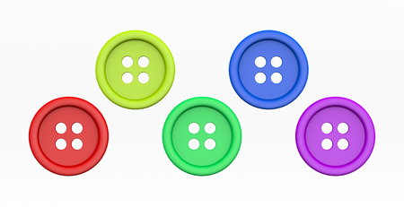 green button: Colorful Tailors Buttons Set Isolated on White Background 3D Illustration