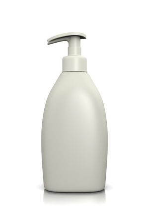 Blank White Liquid Soap Dispenser on White Background 3D Illustration