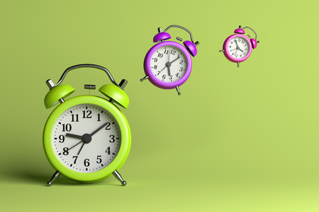 alarmclock: Alarm Clocks Flying on Green Empty Background 3D Illustration, Time Flies Concept