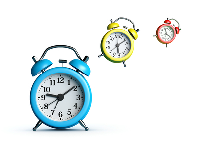 Alarm Clocks Flying on White Background 3D Illustration, Time Goes Concept