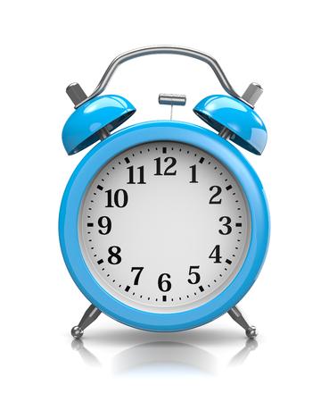 customizable: Customizable Blue Classic Alarm Clock on White Background 3D Illustration Stock Photo