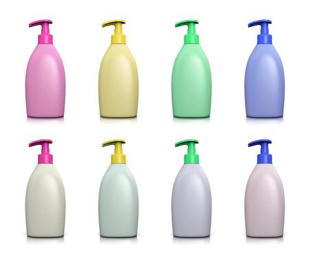 jabon liquido: Colección dispensador de jabón líquido en blanco de colores sobre fondo blanco Ilustración 3D