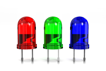 component: RGB Red, Green and Blue Led Diodes on White Background 3D Illustration