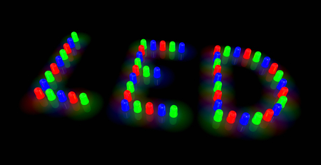 Led Diodes Arranged in Led Text Layout on Black Background 3D Illustration