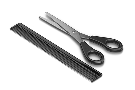 haircutting: Metal Scissors and Black Plastic Comb on White Background 3D Illustration Stock Photo