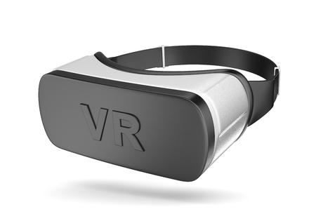 Noir et blanc VR Casque de réalité virtuelle isolé sur fond blanc Illustration 3D