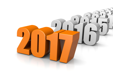 time of the year: Orange 2017 Year Number Text Time Passes Concept on White Background 3D Illustration