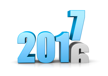 time of the year: Blue 2017 Year Number Text on Top of 2016 on White Background 3D Illustration. Time Passes Concept