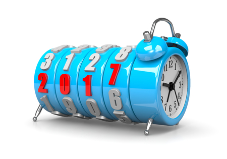 time of the year: Red 2017 Year Number Text on Blue Alarm Clock on White Background 3D Illustration. Its Time For Concept