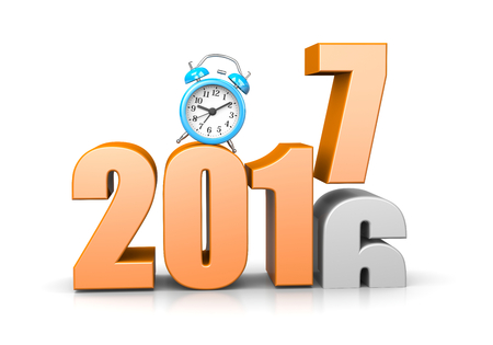 time of the year: Orange 2017 Year Number Text on Top of 2016 with Blue Alarm Clock on White Background 3D Illustration. Time Passes Concept Stock Photo